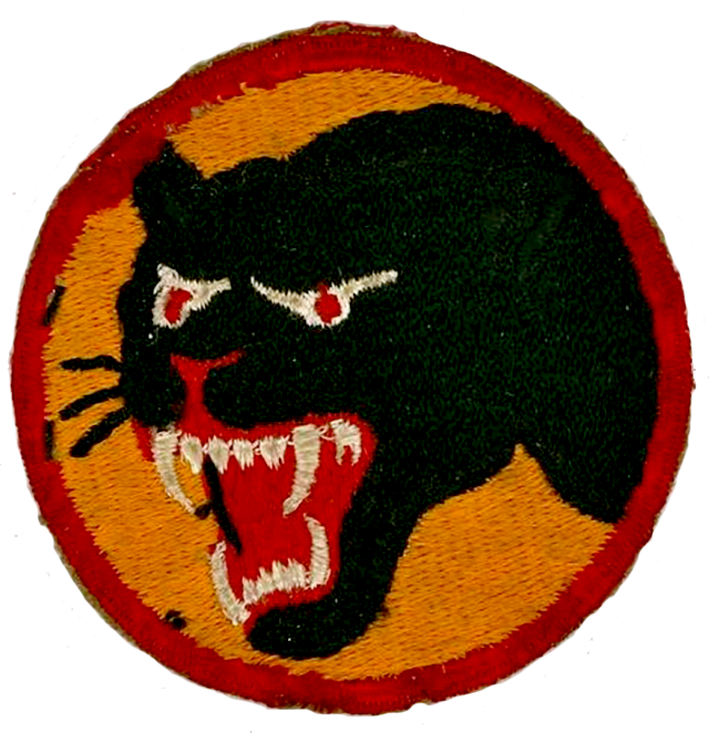 66th Infantry Division (Black Panthers) Shoulder Patch, ca. 1939-45, fully-embroidered gold patch with multi-colored cotton/silk threads, 2 3/4 in., © Flying Tiger Antiques