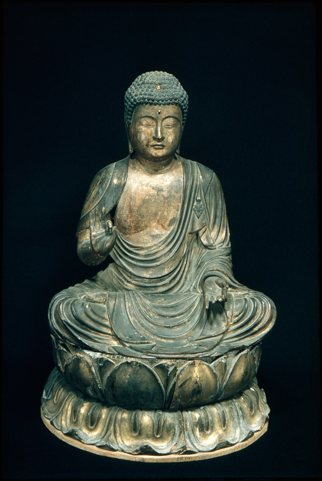 Seated Amida Buddha, Muromachi period, 1333-1573, 14th-15th century, Japanese, Wood, lacquer, gold leaf, and jewels, 20 1/8 x 17 11/16 in. (51.1 x 45 cm) Overall h.: 16 1/16 in. Overall h.: 68.9 cm Diam.: 47.8 cm, Seattle Art Museum, Thomas D. Stimson Memorial Collection, 47.66