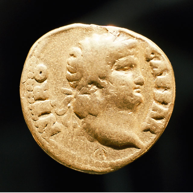 Coin of Nero (Aureus), 64-68, Roman. Gold, Diameter: 3/8 in., Seattle Art Museum, Gift of Mr. and Mrs. Max Lachman, 75.39.