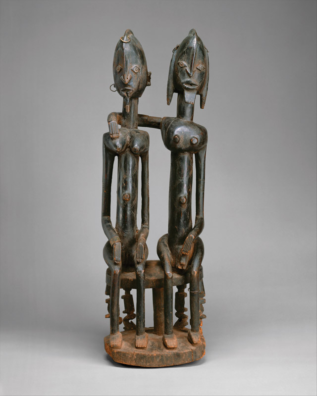 Unkown artist, mali. Seated Couple, 18th-early 19th century, wood, metal, 28 3/4 x 9 5/6 in. The Metropolitan Museum of Art, New York; Gift of Lester Wunderman 1997.394.15. (photo: www.metmuseum.org)