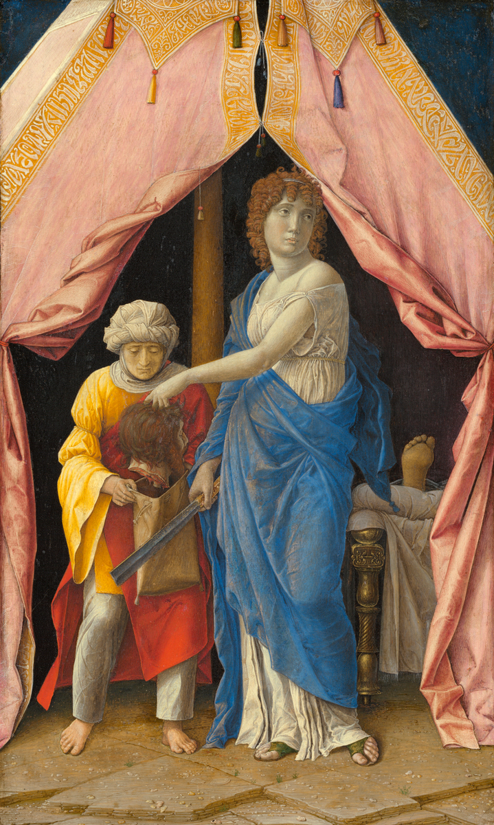 Judith with the Head of Holofernes, c. 1495-1500, Andrea Mantegna, Italian, c. 1431 - 1506, tempera on poplar panel, 12 1/8 x 7 3/4 in., National Gallery of Art, Washington DC, Widener Collection.