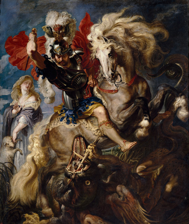 Saint George and the Dragon, 1606-1608, Peter Paul Rubens, Flemish, 1577-1640, oil on canvas, 121 x 181 in., © Museo Nacional del Prado.