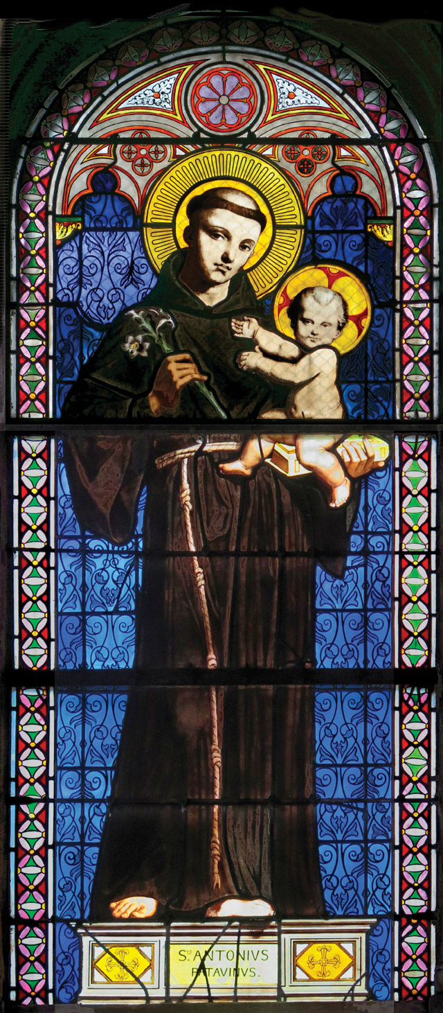 Saint Anthony of Padua, ca. 1843-1844 Jean-Auguste-Dominique Ingres, French, 1780-1867, stained glass window fabricated from the artist's design, 86 5/8 x 36 3/8 in. Chapelle St.-Ferdinand, Porte des Ternes, Paris. Photo: Philippe Bedin.
