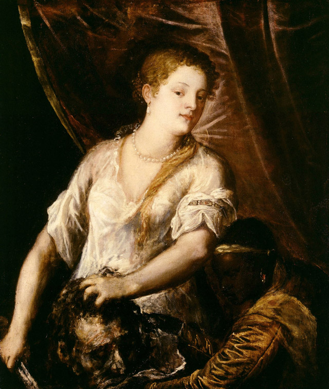 Judith with the Head of Holofernes, c. 1570, Titian, Italian, ca. 1488–1576, oil on canvas, 44 1/2 x 37 1/2 in., Detroit Institue of Arts, Detroit. Photo: Lluís Ribes Mateu